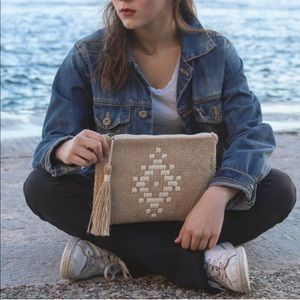 Handmade woven clutch. Boho folklore bag